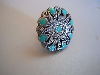 Conchos Filigree Old Silver And Turquoise