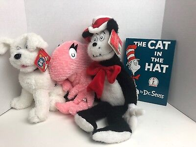 The Cat In The Hat Kohl's Cares Plush Set Of 3 w/Book Cat Dog Fish Dr. Seuss