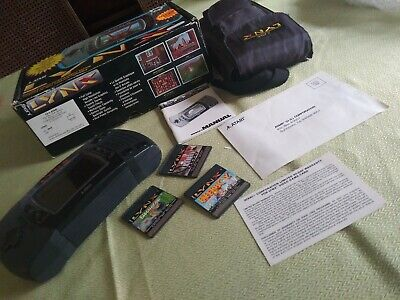 Atari Lynx II Launch Edition Black Handheld System Box 3 Games Case Pouch