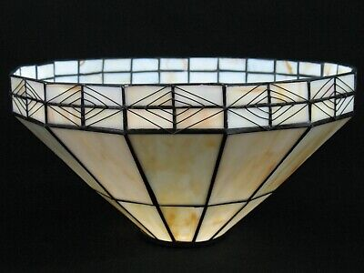 """13"""" TIFFANY STYLE STAINED GLASS ART DECO MISSION FILIGREE LAMP SHADE"""