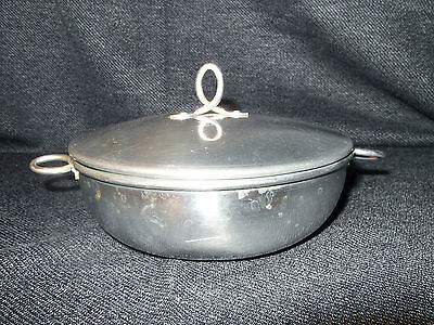 Vintage Hammered Aluminum Dish With Lid and Wire Handles VGUC