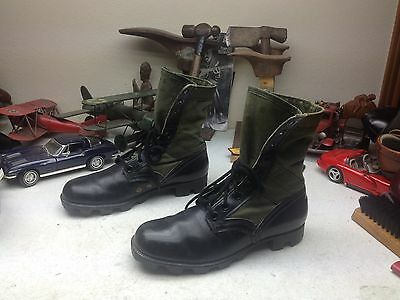 Genesco Vintage 1970 Black Leather Green Canvas Military Combat War Boots 7 N