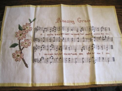"AMAZING GRACE SHEET MUSIC Finished Counted Cross Stitch 12""X17.5""-NO FRAME"