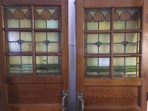 Antique French Double Door with stain glass transom