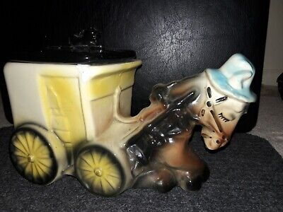 Cookies and Milk horse dawn Cart Cookie Jar, Has a chip inside of rim-see pics