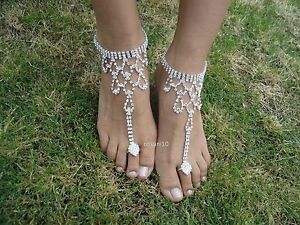 Shining-Crystal-barefoot-sandals-anklet-foot-Beach-Wedding-Bridal-Bridesmaid