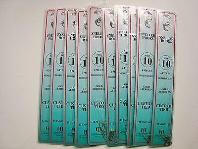 10 pks Size 2//0 Snelled Bait Hooks NEW 60 Total Hooks Dolphin Brand