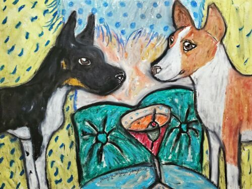 RAT TERRIER drinking a Martini 13x19 Dog Art Print Collectible Signed by KSams