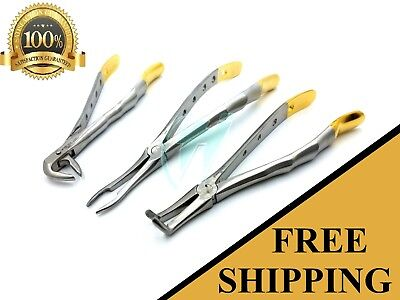 Set Of 3 Root Tip Extracting Extraction Forceps Dental Instruments Premium Grade