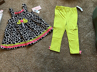 Girl's Kids Headquarters 2 Piece Summer Set Size 5 Giraffe Print Lime Green (Lime Giraffe)