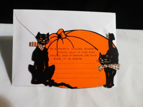 Vintage Black cats (2) and Big Pumpkin Halloween Party Invitation W/Envelope-MIN