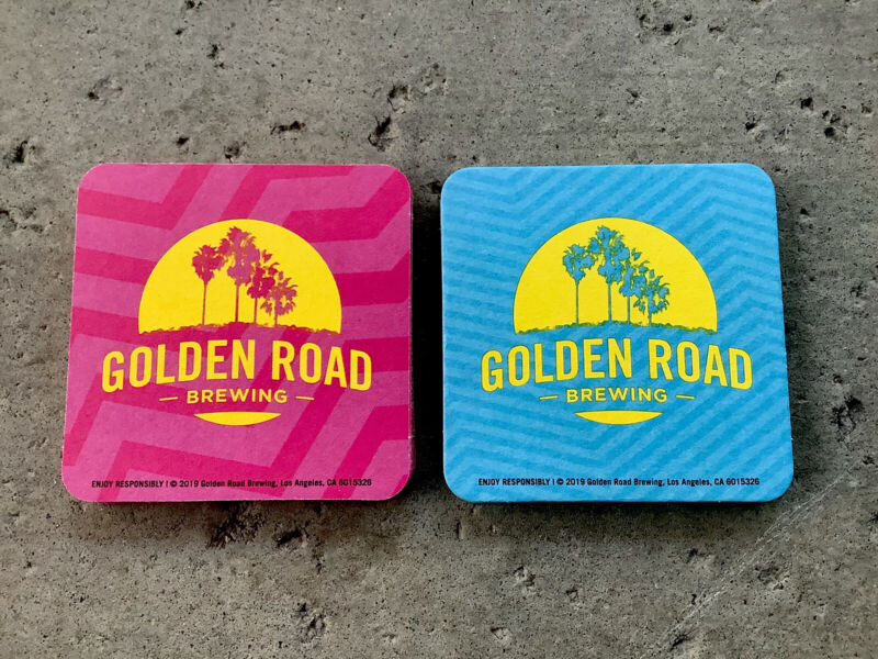 "Pink & Blue. 12 Golden Road🌴🌴Brewing Coasters. 4X4"" Brand New.  Free Shipping"