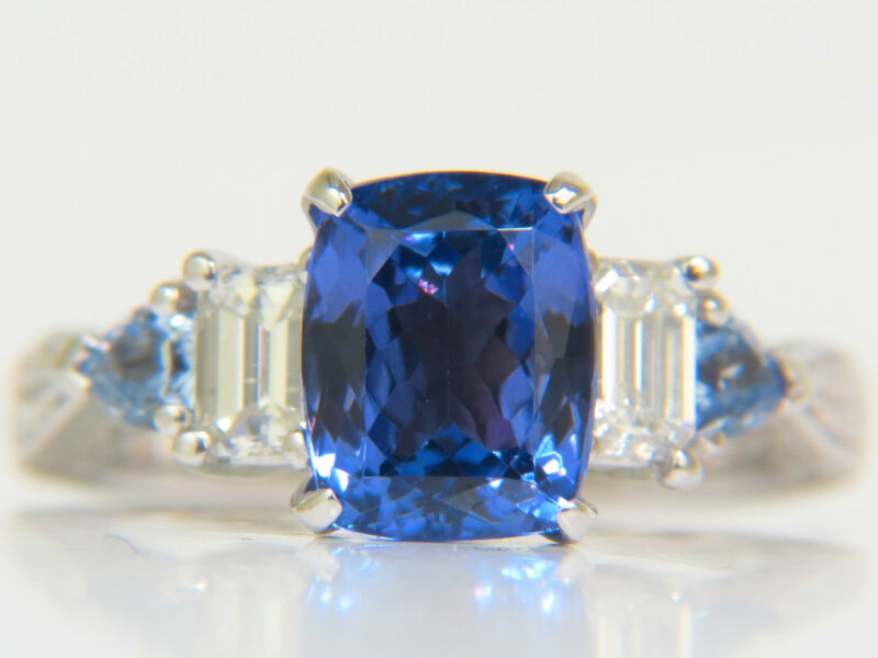 █$7200 Natural 4.57ct Tanzanite Diamond Ring A+ Gilt Detail Deco 14kt + Sapphire