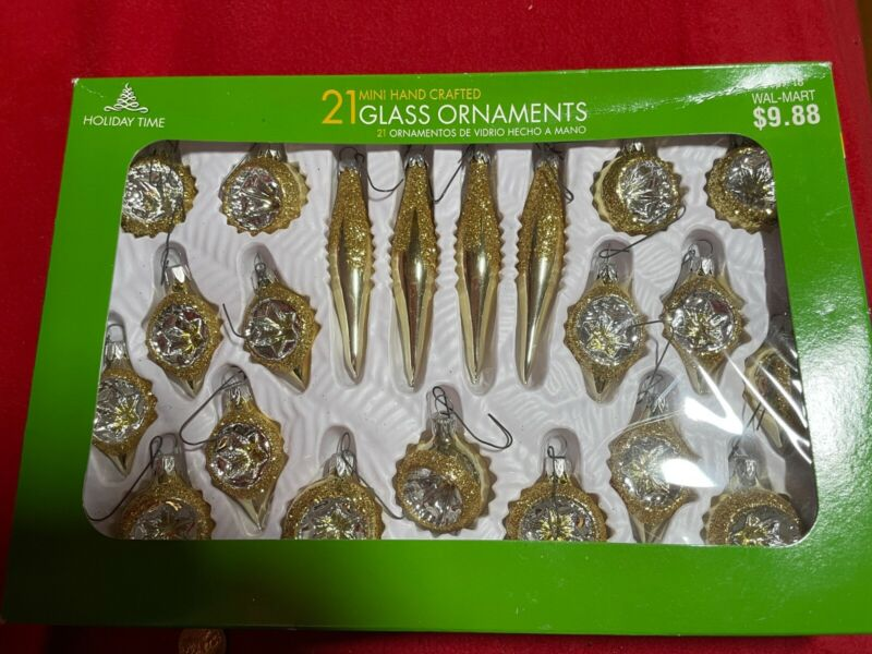 Holiday Time Christmas 21 Glass ornaments mini set silver gold balls drops box