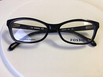 New FOSSIL 807 EYEGLASSES FRAME Black Plastic 52 mm Women's Cat Eye Shape Corrin