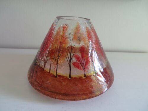 YANKEE CANDLE FALL TREES CLEAR CRACKLE GLASS JAR CANDLE SHADE RETIRED NEW