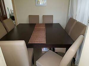 Stunning square, dark wood dining room table with 8 chairs Windsor Stonnington Area Preview
