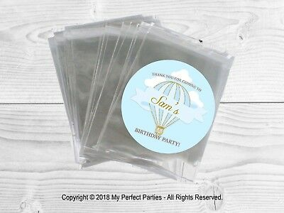 12 x Hot Air Balloon, Blue, Baby Boy, Birthday Party Bags & Stickers Favour Kit