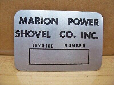 Vintage Nos Marion Power Shovel Crane Machine Tag Id Plate Plaque Sign Marion Oh
