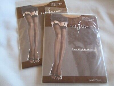 (2) Leg Avenue Sheer Thigh High Stockings Beige One Size Fits Most 90-160 lbs](Leg Avenue Wholesale)