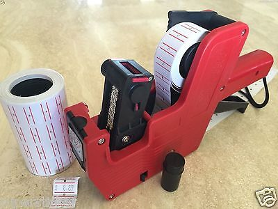 (US Seller MX-5500 8 Digits Price Tag Gun + 2000 White w/ Red lines labels +1 Ink)