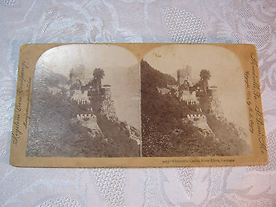 Rheinstein Castle (STEREOVIEW CARD RHEINSTEIN CASTLE RIVER RHINE GERMANY )