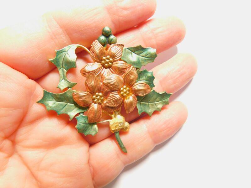 Brown Green Enamel Holiday Poinsettia Flower Holly Brooch Vintage