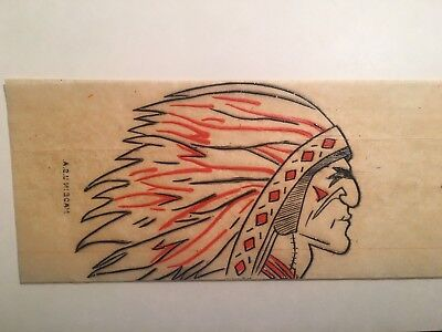 Vintage 1950s Native American Indian War Chief Transfer Iron On New Old Stock