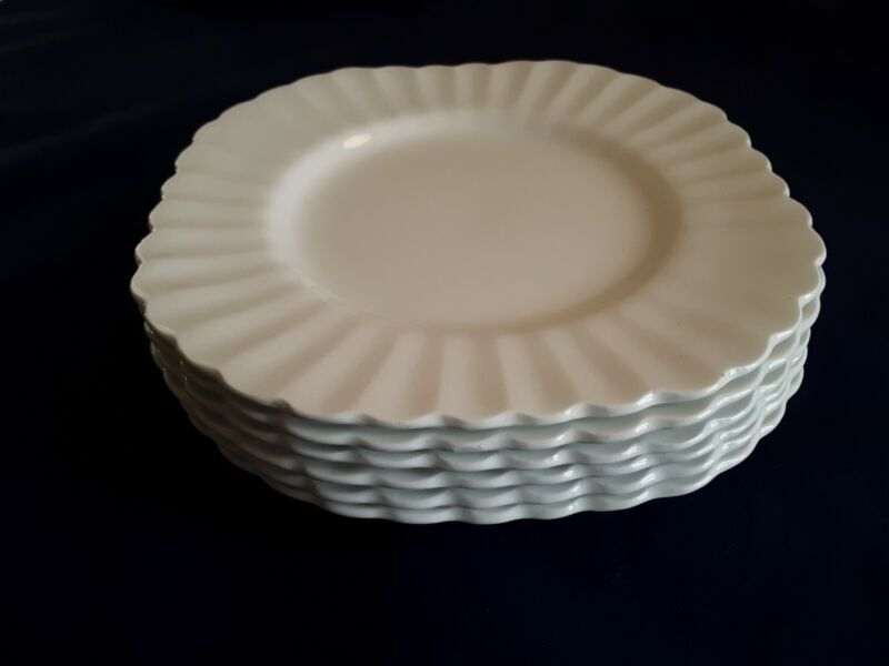 """J & G Meakin Square 7"""" Plates Classic White Fluted Very Nice Set of 6"""