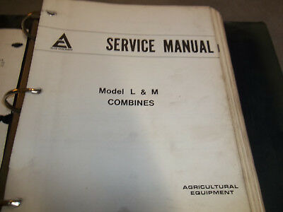 Service Manual For Model L M Allis Chalmers Combines.