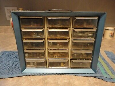 Vintage Akro-mils Nuts And Bolts Cabinet 15 Drawers Storage Bin