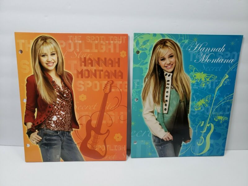 Hannah Montana Binders Lot of 2 Cardboard 3-Ring Compatible Folders 2007 - D3