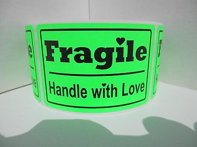 Fragile Handle With Love 2x3 Fluorescent Green Warning Stickers Labels 250rl