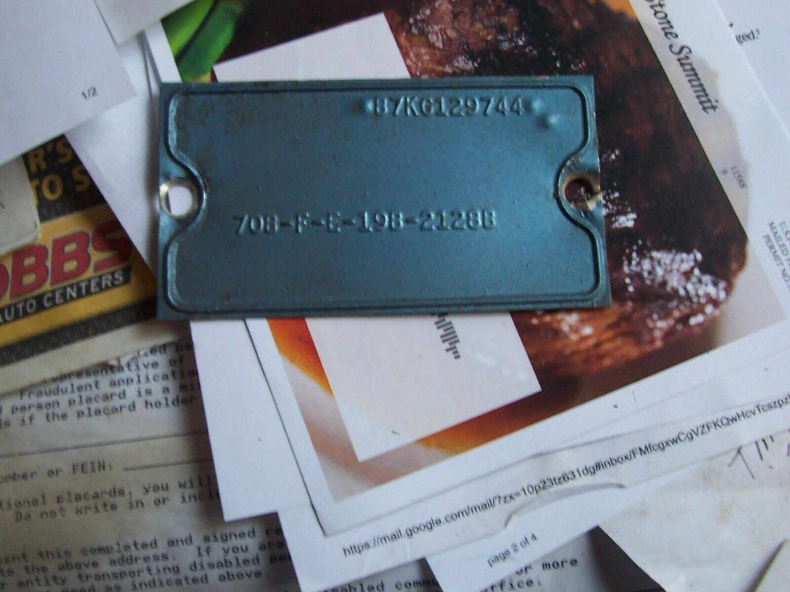 1957 FORD CUSTOM 300 2 DR DATA TAG FOR HISTORICAL COLLECTING