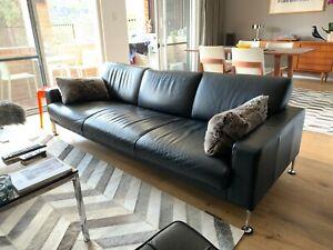 King Living Black 3 Seater Leather Sofa Lounge