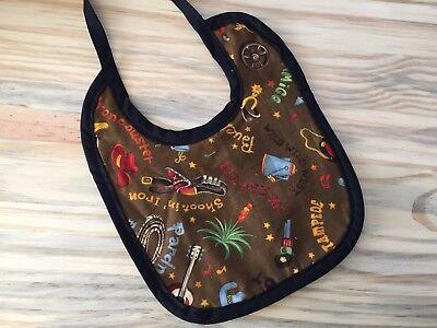 Western Baby Bib Print Boy Baby Shower Handmade Gift Tieback Ships - Western Baby Shower