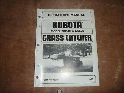 Kubota Gc54b Gc60b Grass Catcher Owner Operator Maintenance Manual User Guide