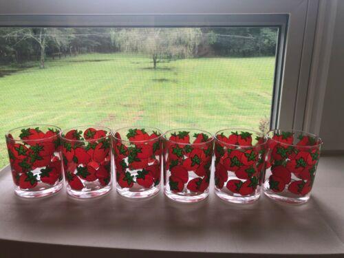 Vintage H.J. Stotter Strawberry Pattern Plastic Glasses Tumblers Set Of 6