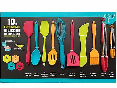 Core Kitchen Ergonomic Silicone Utensil Set with Overmold Solid Core 10 PC