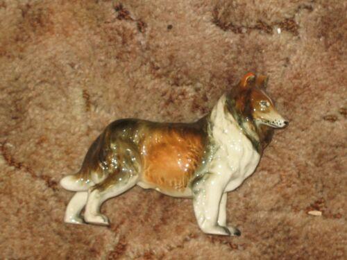 "Vintage 7"" Long Glazed Ceramic Collie Figurine Dog"