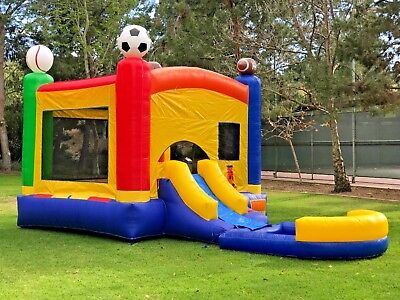 Commercial Inflatable Bounce House Sports Wet Dry Slide + Pool 100% PVC Vinyl - Inflatable Sports
