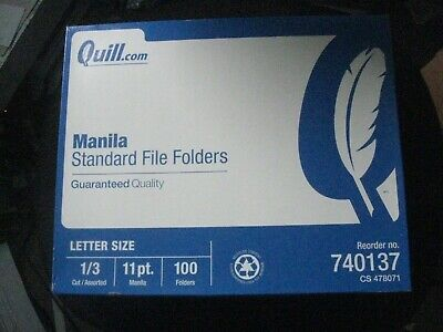 Qty 1 Pack Of 100 Quill Manila Standard File Folders 13 Cut 11 Pt. 740137
