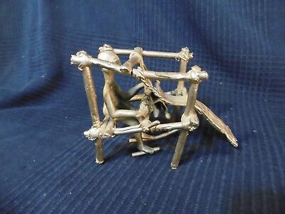 Sculpture Bronze African - Dream Weaver Metier a Tisser Antique Popular Art