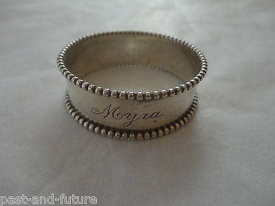 """BEADED STERLING NAPKIN RING ENGRAVED NAME OF MYRA, 1/2"""" BY 1 3/4"""""""