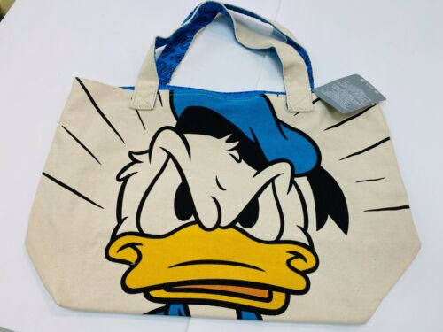 """Disney Store Authentic Donald Duck Happy Angry  Canvas Tote Bag Purse 13""""x19"""""""