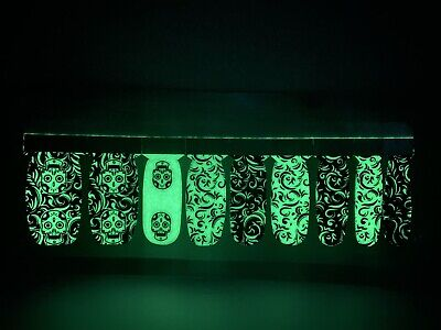 Real Color Nail Polish Strips Glow In The Dark Halloween Ghouly Skulls