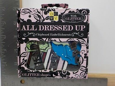 DCWV DIE CUTS WITH A VIEW ALL DRESSED UP CHIPBOARD EMBELLISHMENTS A11450