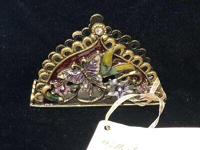 Wellesley Manor Decorative Business Card Holder Metal With Enamel Butterflies