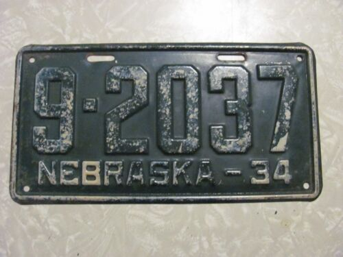 1934 NEBRASKA LICENSE PLATE   FREE SHIPPING