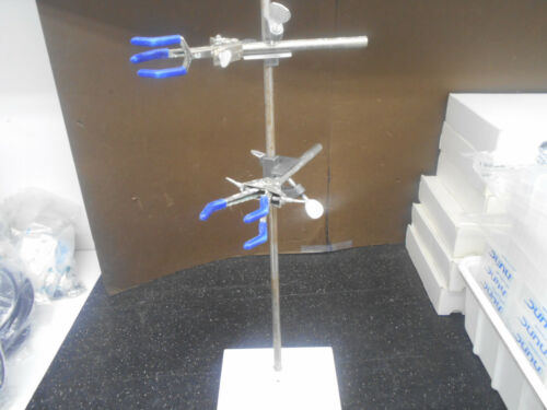 """FISHER LAB 8"""" STAND 28.5"""" POST W/2 3 PRONG BURET CLAMPS"""